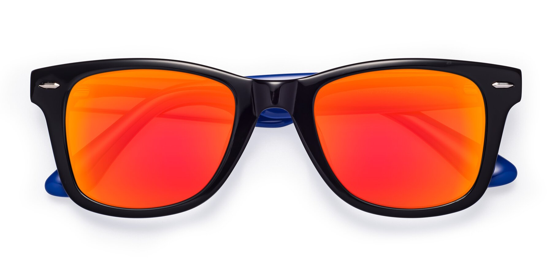 Folded Front of Rocky in Black-Blue with Red Gold Mirrored Lenses