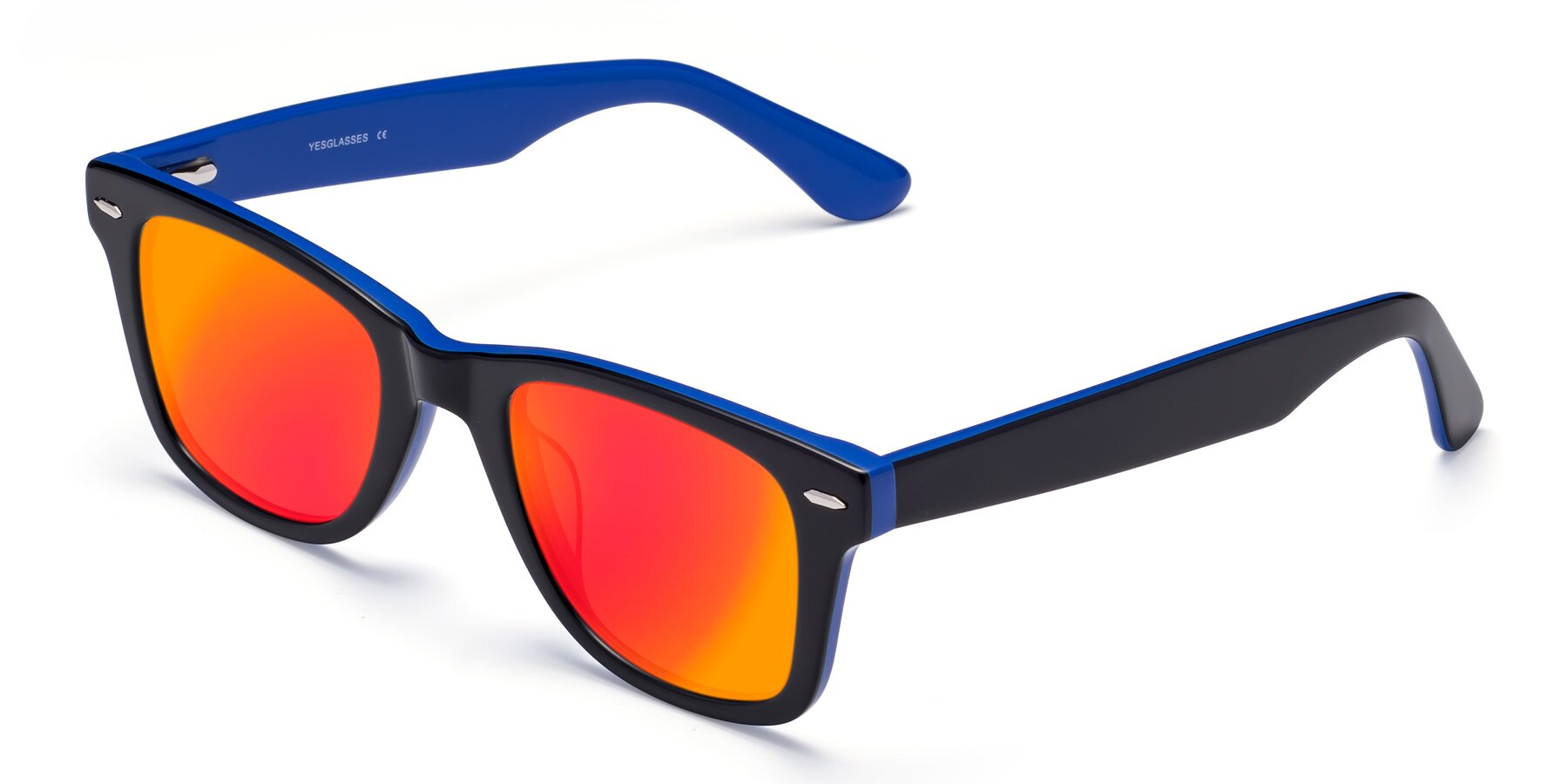 Angle of Rocky in Black-Blue with Red Gold Mirrored Lenses