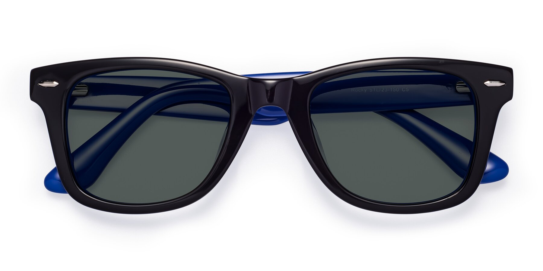 Folded Front of Rocky in Black-Blue with Gray Polarized Lenses