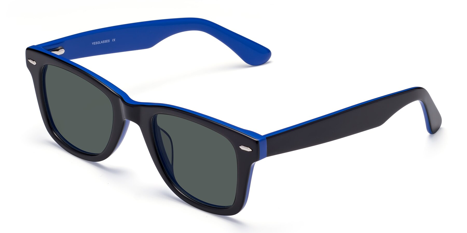 Angle of Rocky in Black-Blue with Gray Polarized Lenses