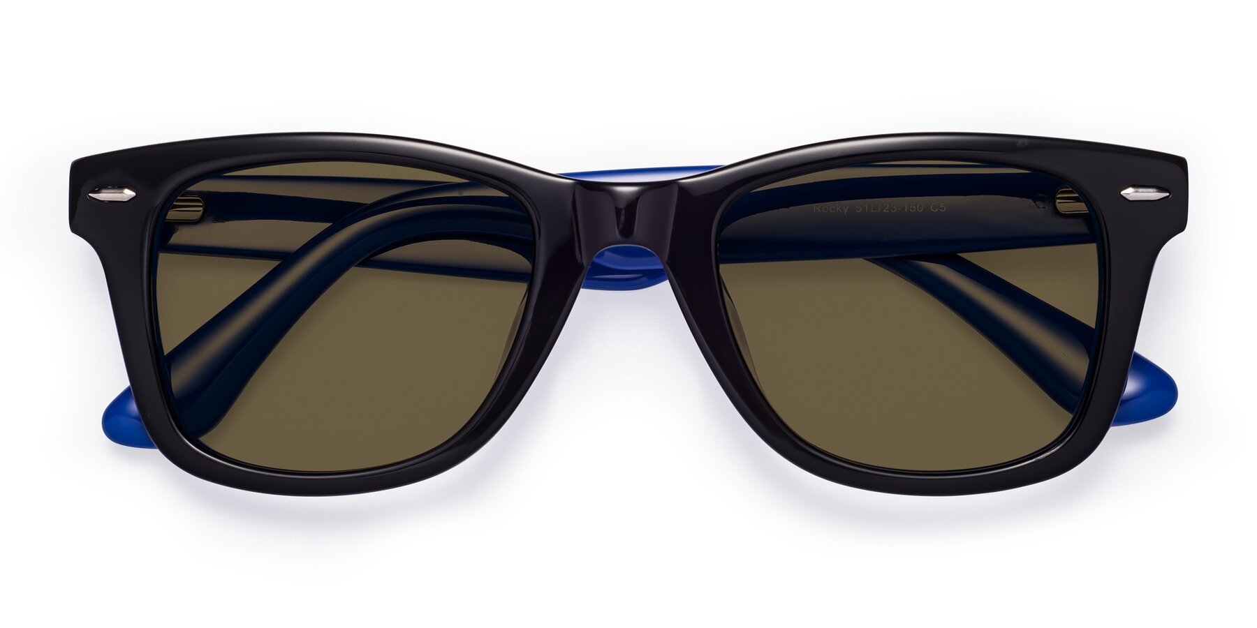 Folded Front of Rocky in Black-Blue with Brown Polarized Lenses