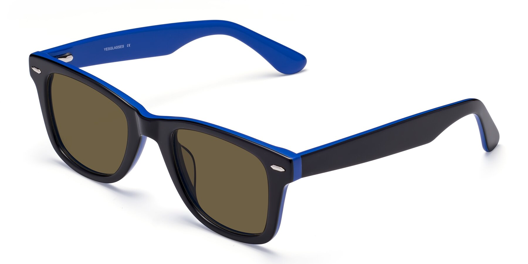 Angle of Rocky in Black-Blue with Brown Polarized Lenses