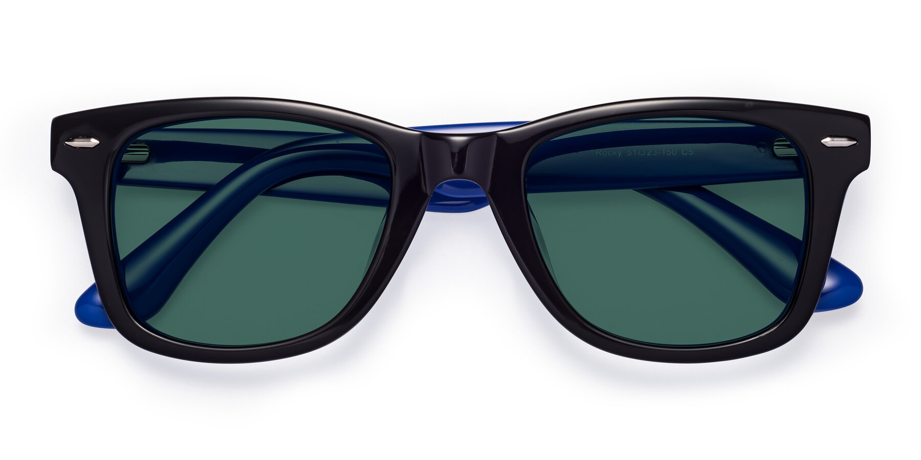 Folded Front of Rocky in Black-Blue with Green Polarized Lenses