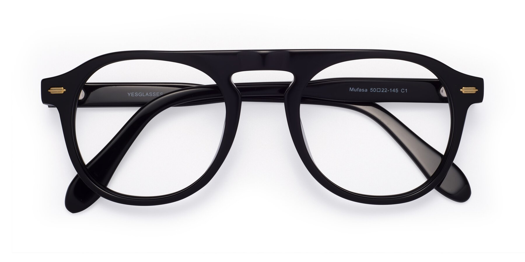 Folded Front of Mufasa in Black with Clear Eyeglass Lenses