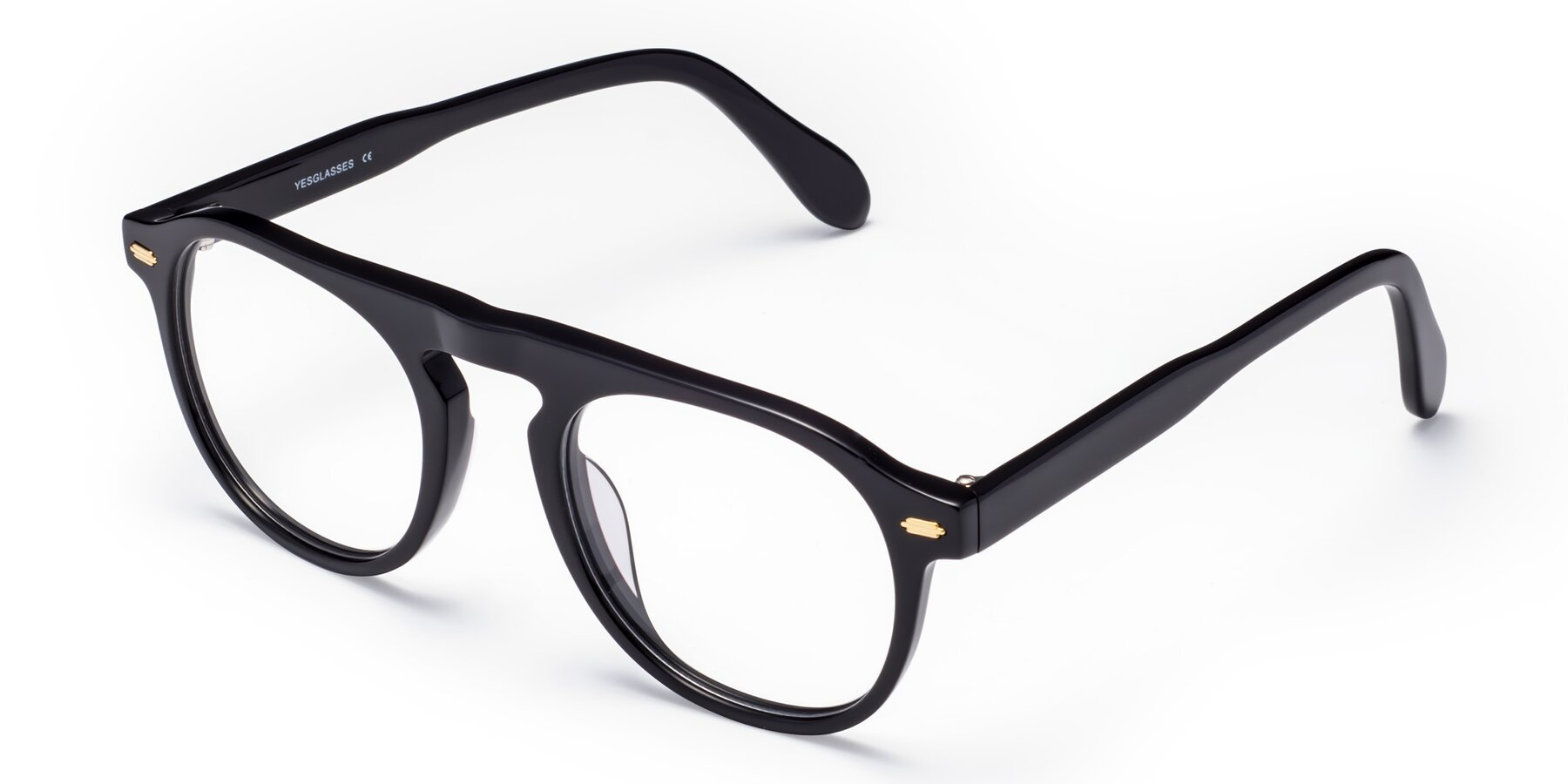 Angle of Mufasa in Black with Clear Eyeglass Lenses