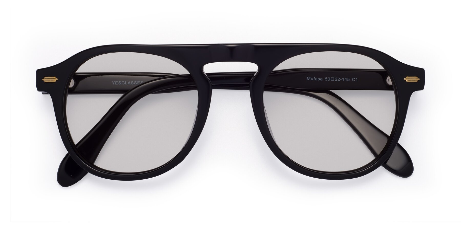 Folded Front of Mufasa in Black with Light Gray Tinted Lenses
