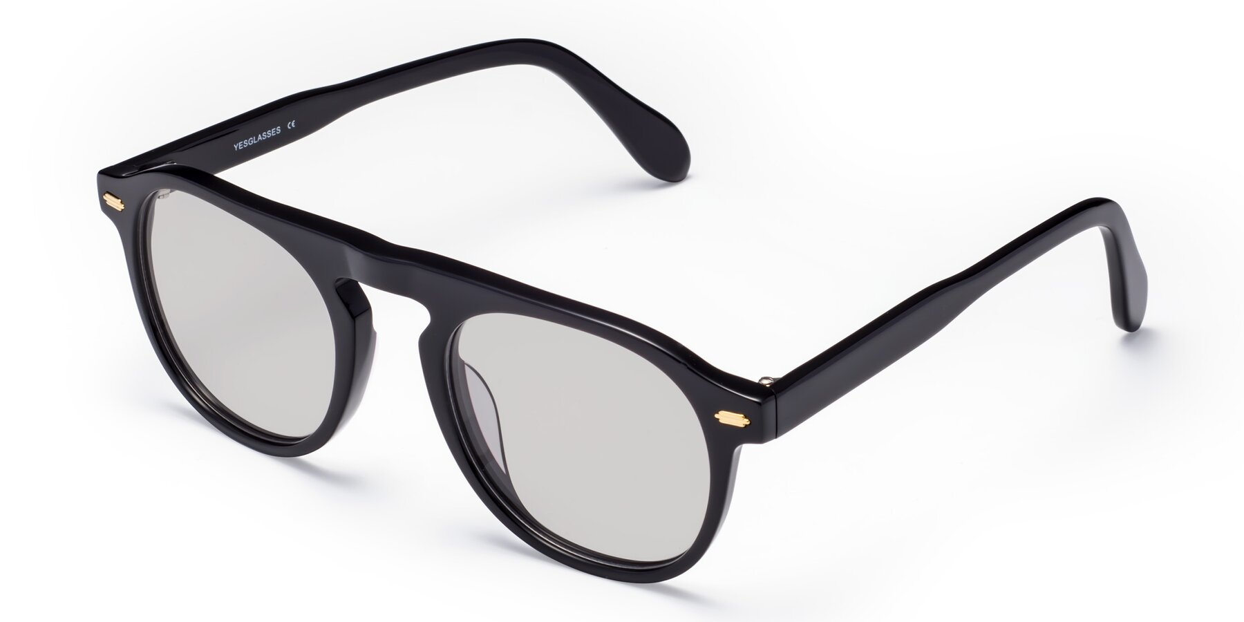 Angle of Mufasa in Black with Light Gray Tinted Lenses