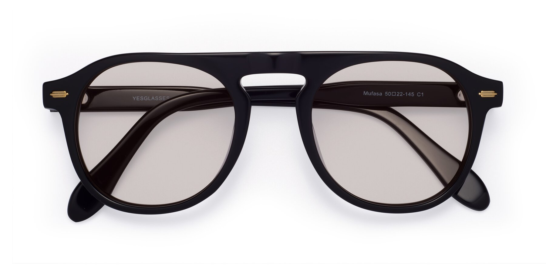 Folded Front of Mufasa in Black with Light Brown Tinted Lenses