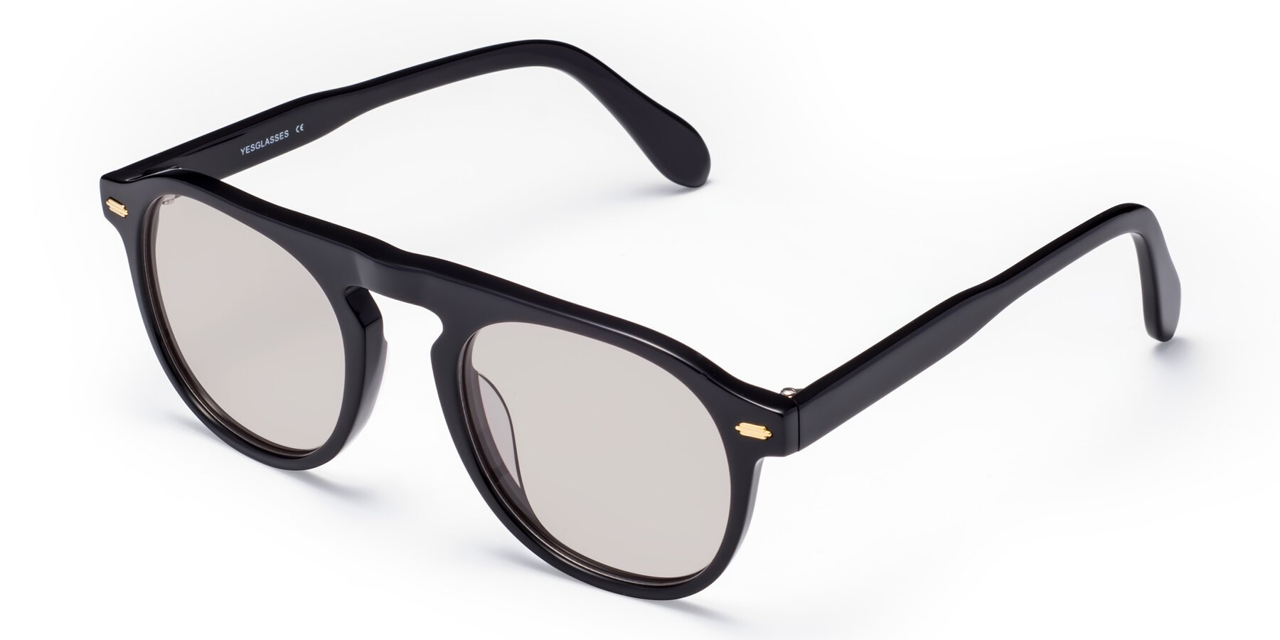 Angle of Mufasa in Black with Light Brown Tinted Lenses