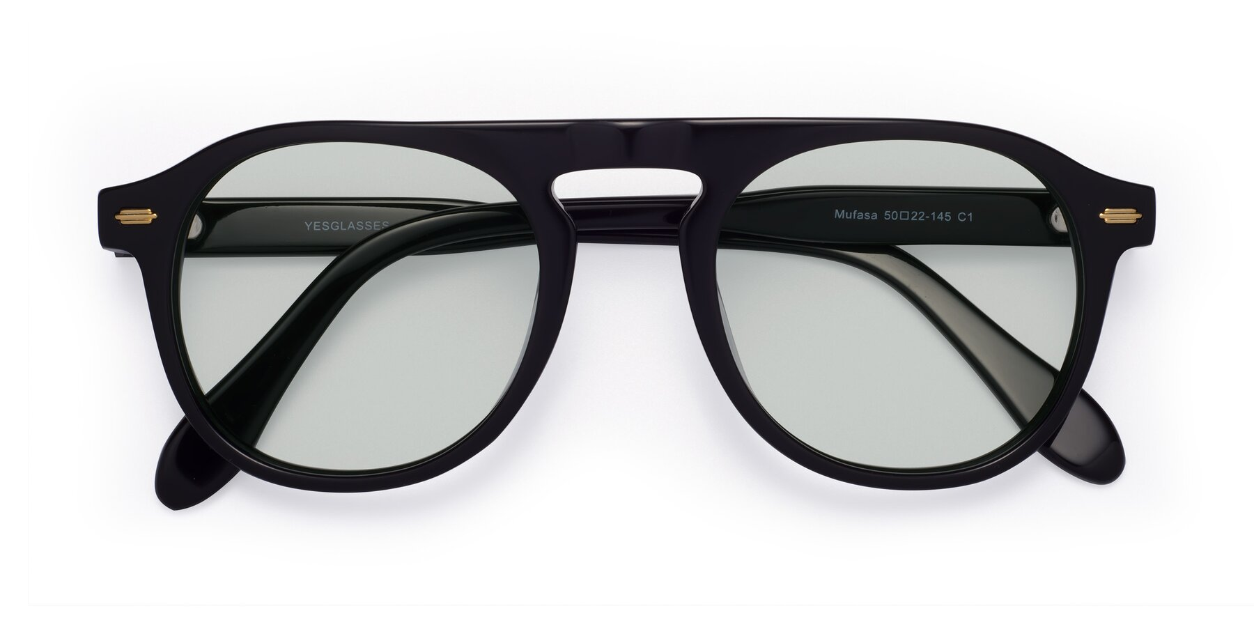 Folded Front of Mufasa in Black with Light Green Tinted Lenses