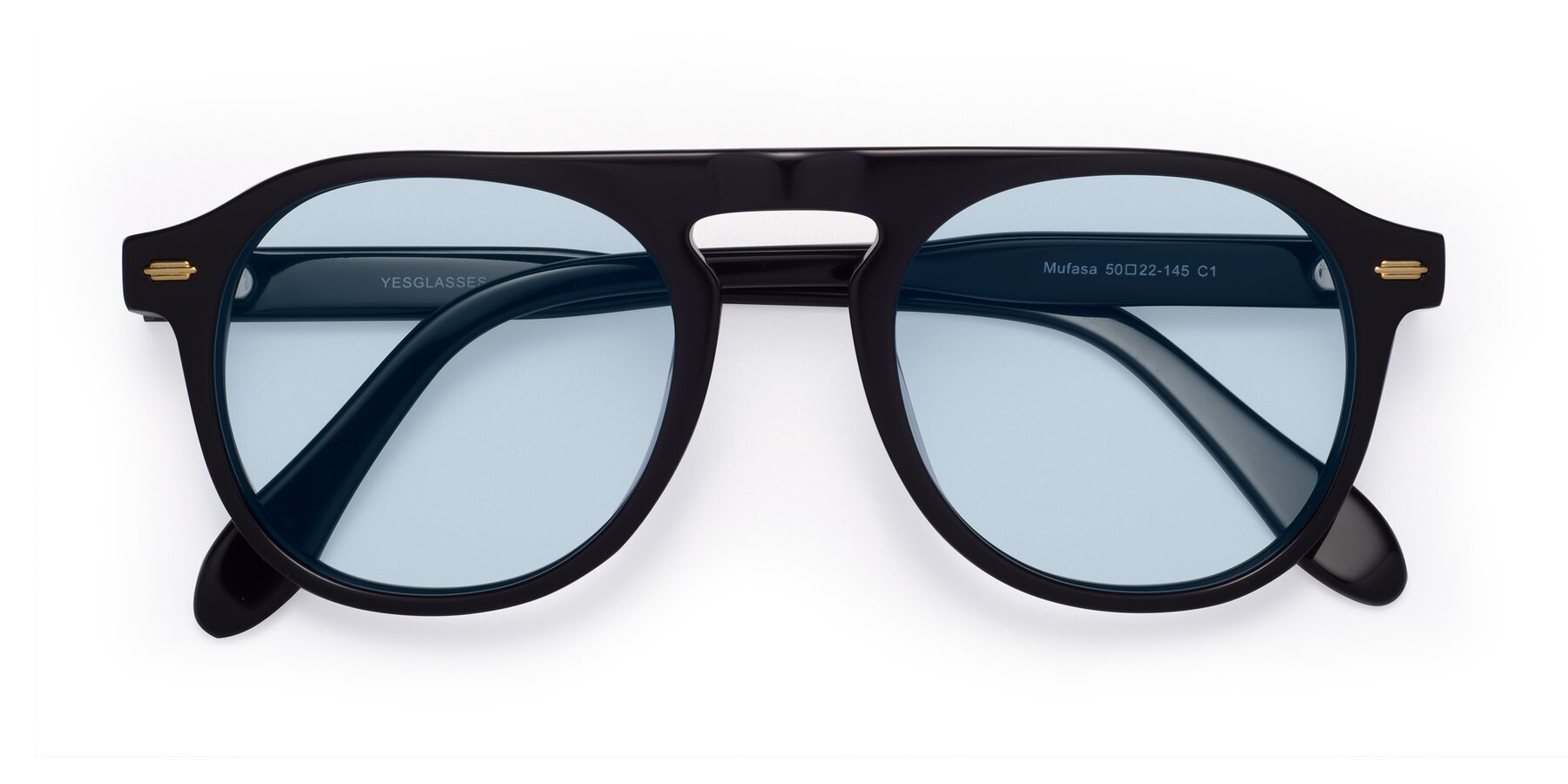 Folded Front of Mufasa in Black with Light Blue Tinted Lenses