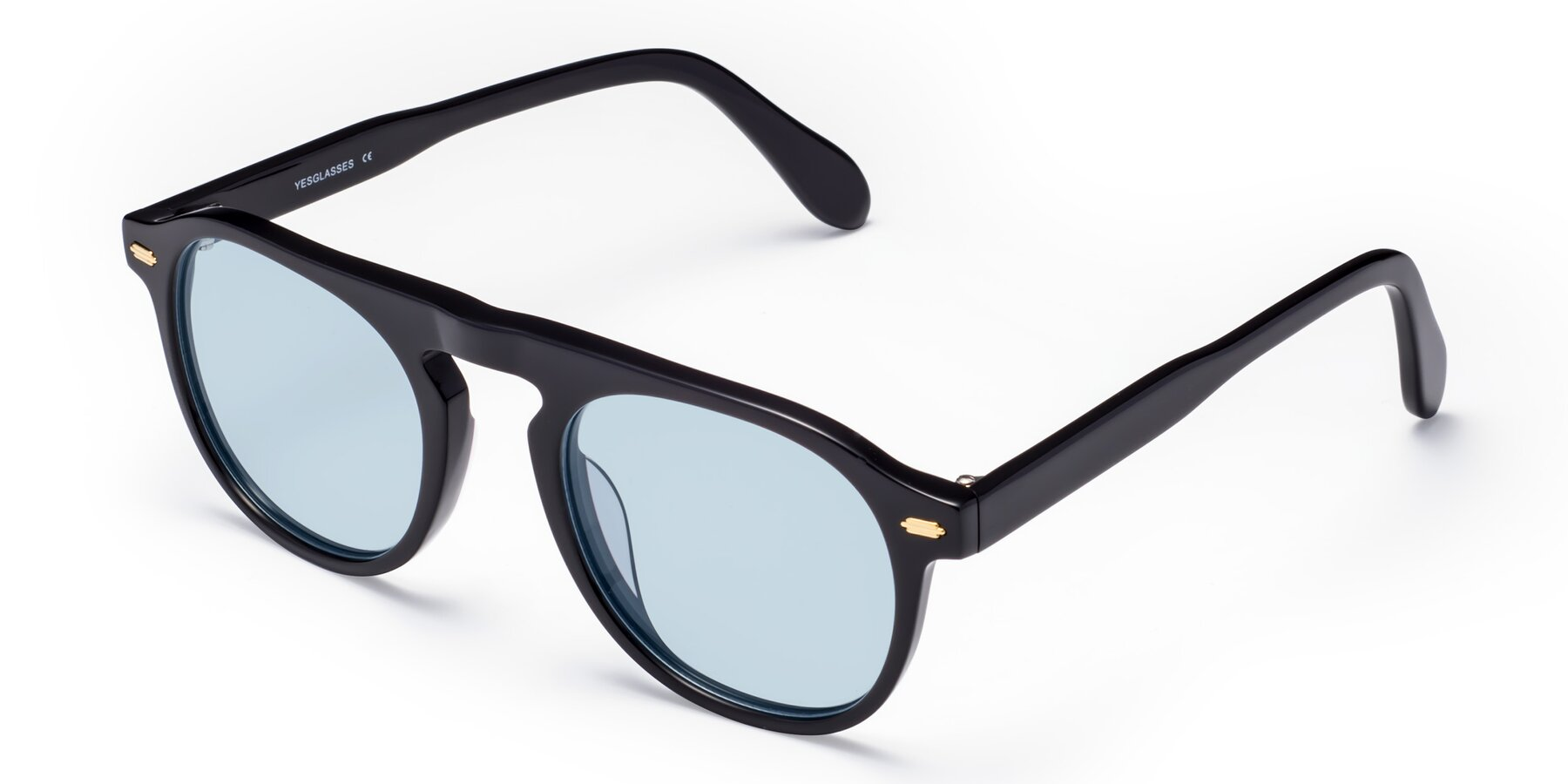 Angle of Mufasa in Black with Light Blue Tinted Lenses