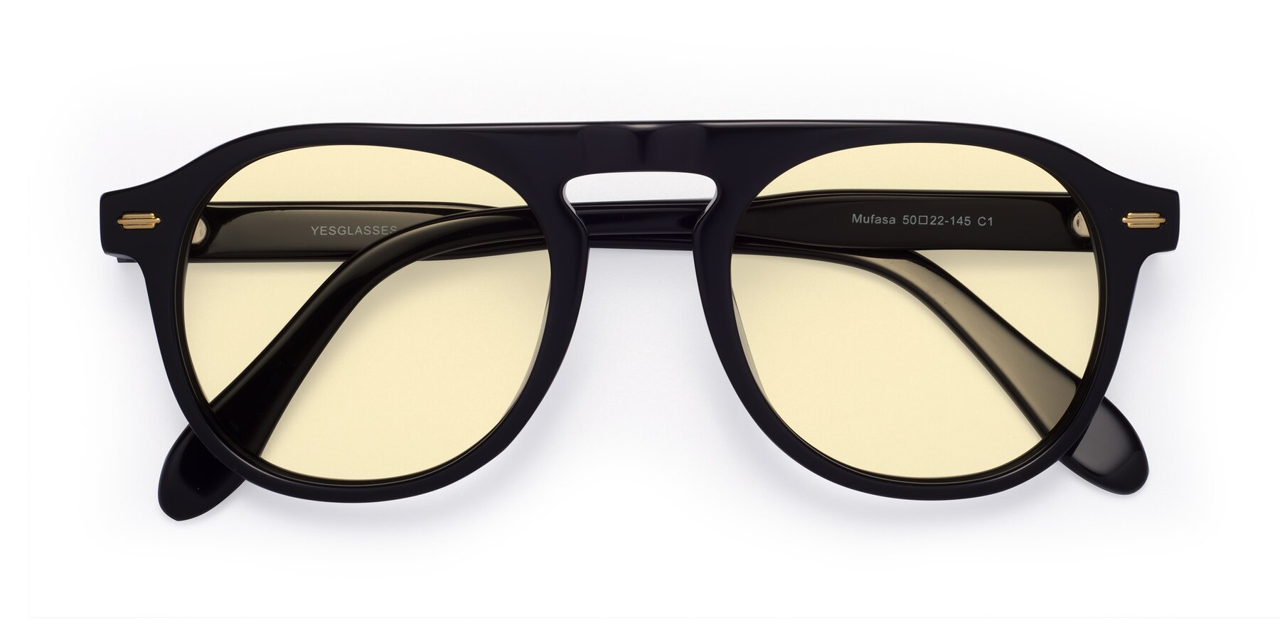 Folded Front of Mufasa in Black with Light Yellow Tinted Lenses
