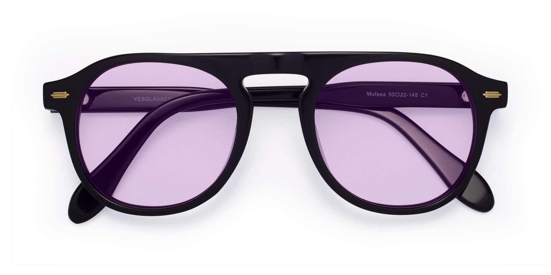 Folded Front of Mufasa in Black with Light Purple Tinted Lenses
