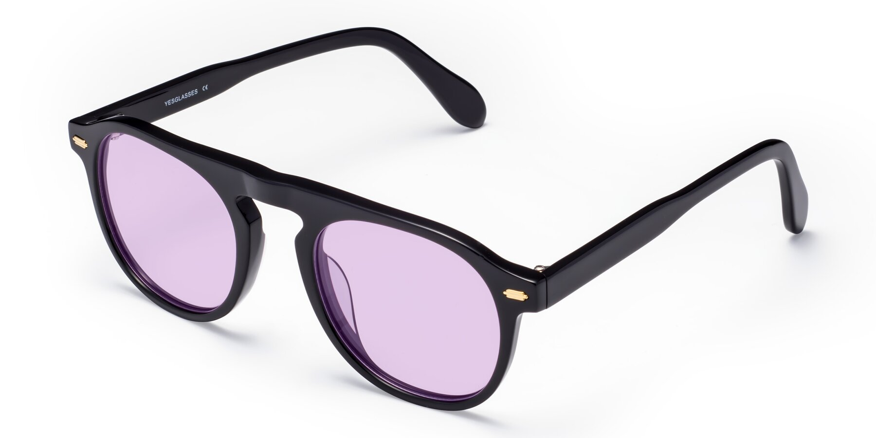 Angle of Mufasa in Black with Light Purple Tinted Lenses