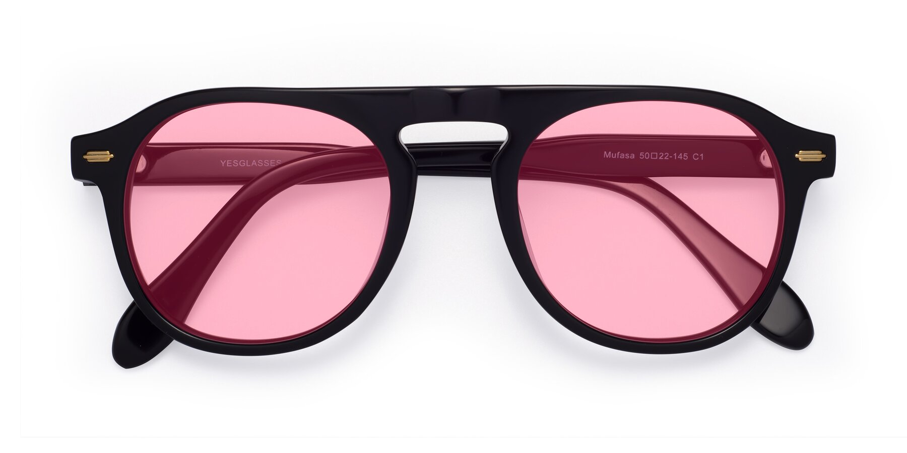 Folded Front of Mufasa in Black with Medium Pink Tinted Lenses