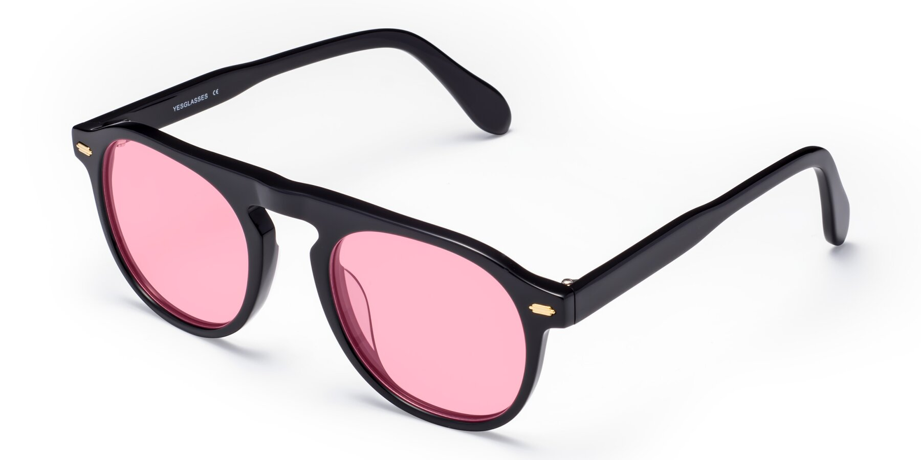 Angle of Mufasa in Black with Medium Pink Tinted Lenses