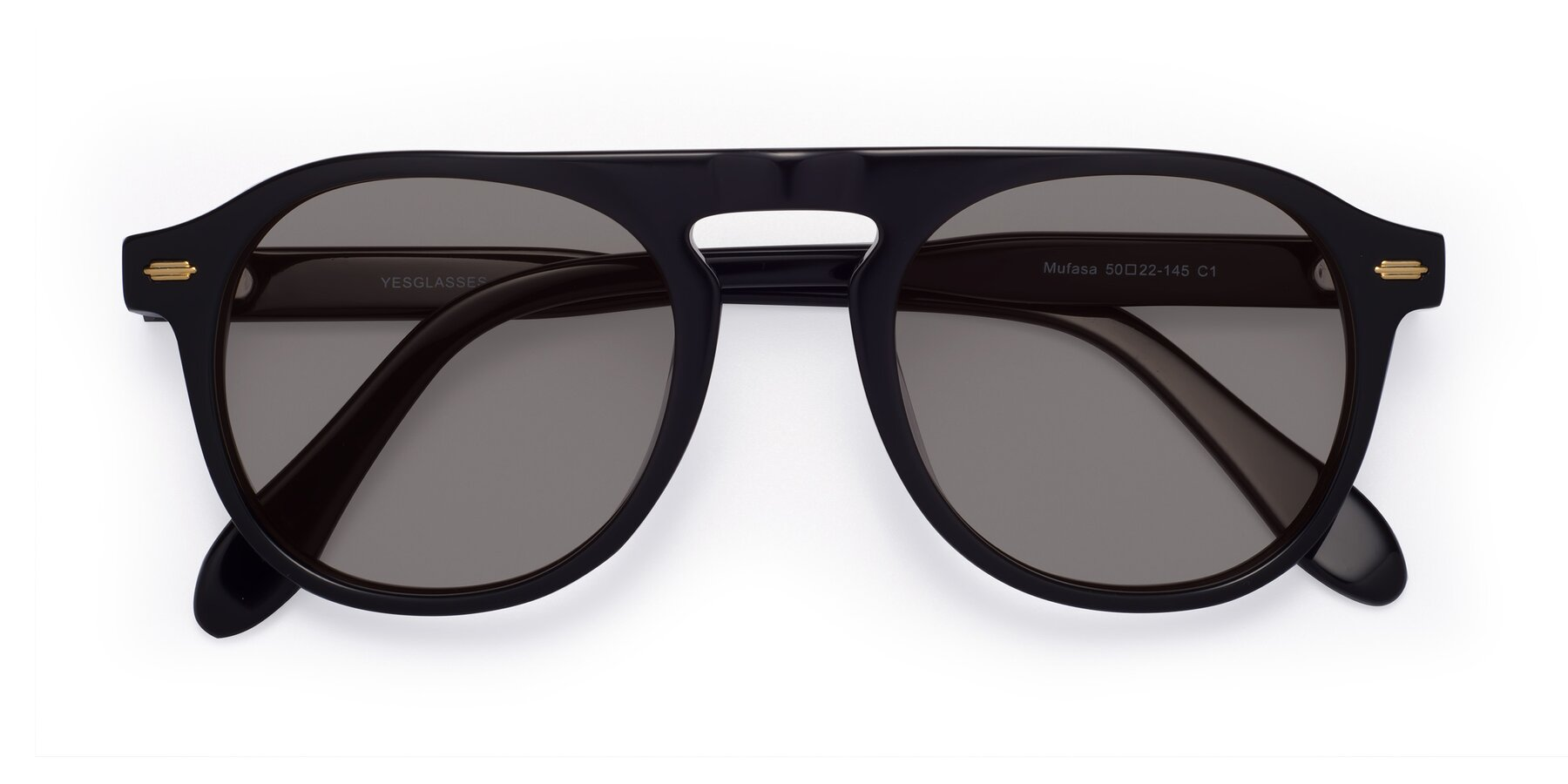 Folded Front of Mufasa in Black with Medium Gray Tinted Lenses