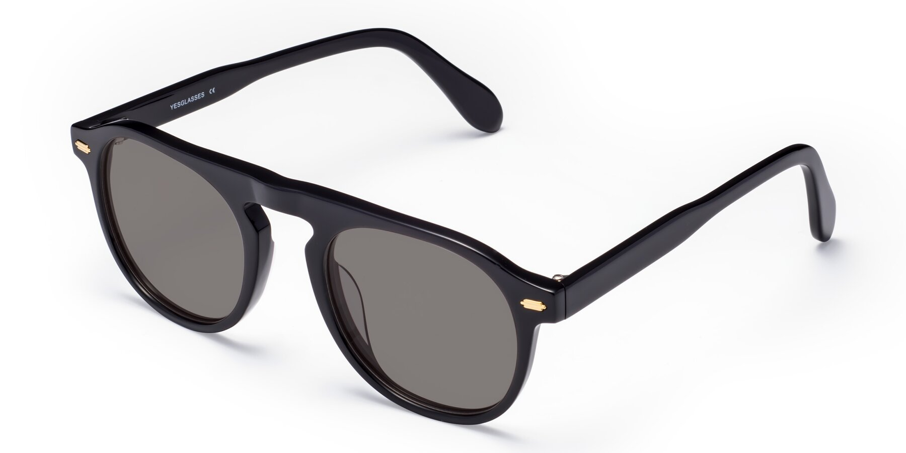Angle of Mufasa in Black with Medium Gray Tinted Lenses