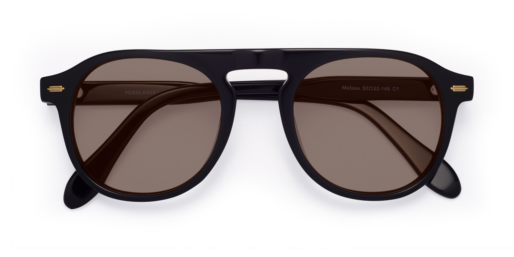 Folded Front of Mufasa in Black with Medium Brown Tinted Lenses