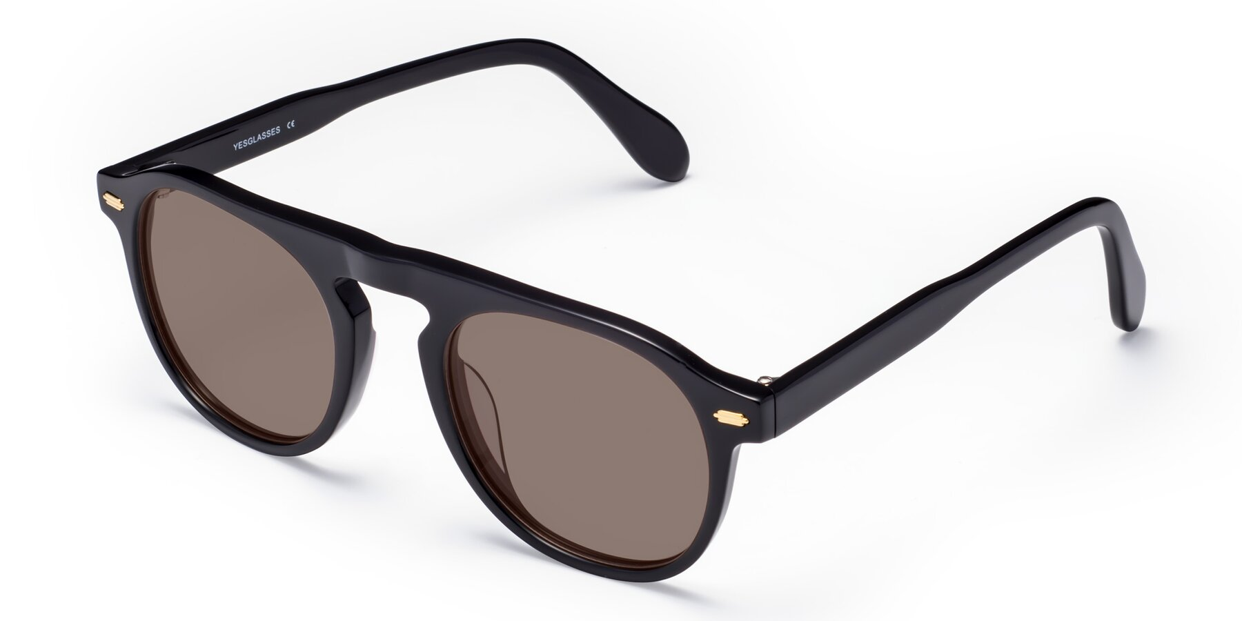 Angle of Mufasa in Black with Medium Brown Tinted Lenses