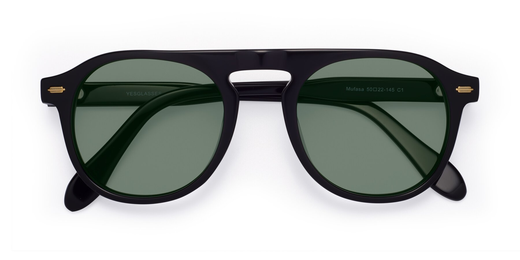 Folded Front of Mufasa in Black with Medium Green Tinted Lenses