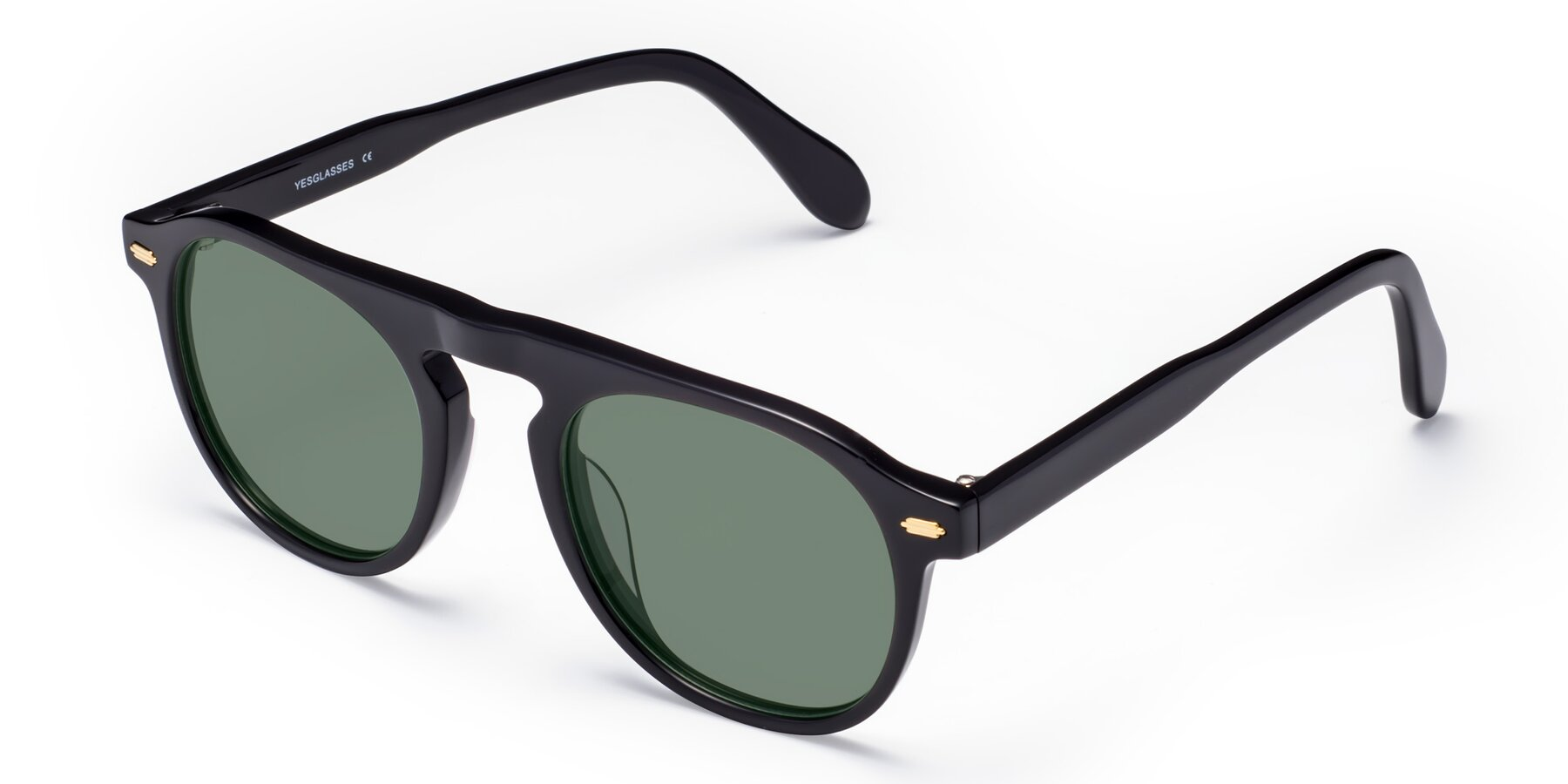 Angle of Mufasa in Black with Medium Green Tinted Lenses