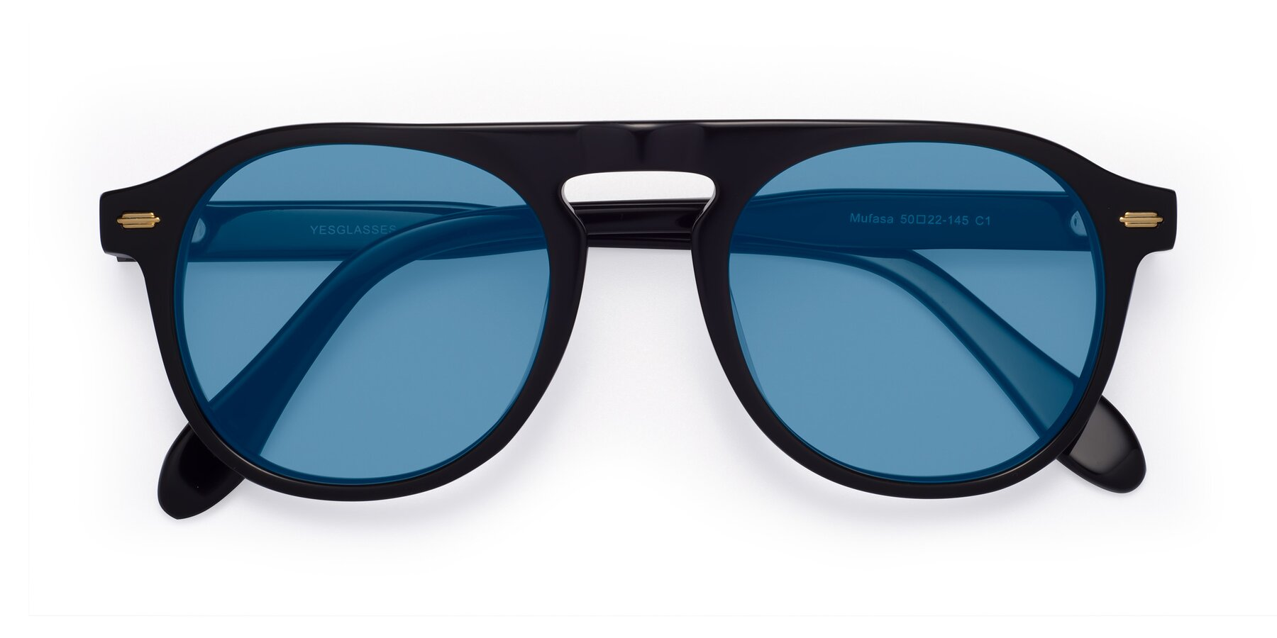Folded Front of Mufasa in Black with Medium Blue Tinted Lenses