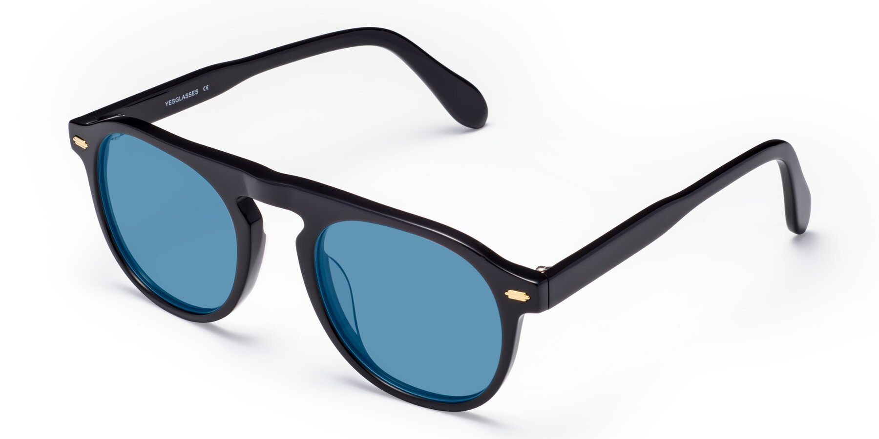 Angle of Mufasa in Black with Medium Blue Tinted Lenses