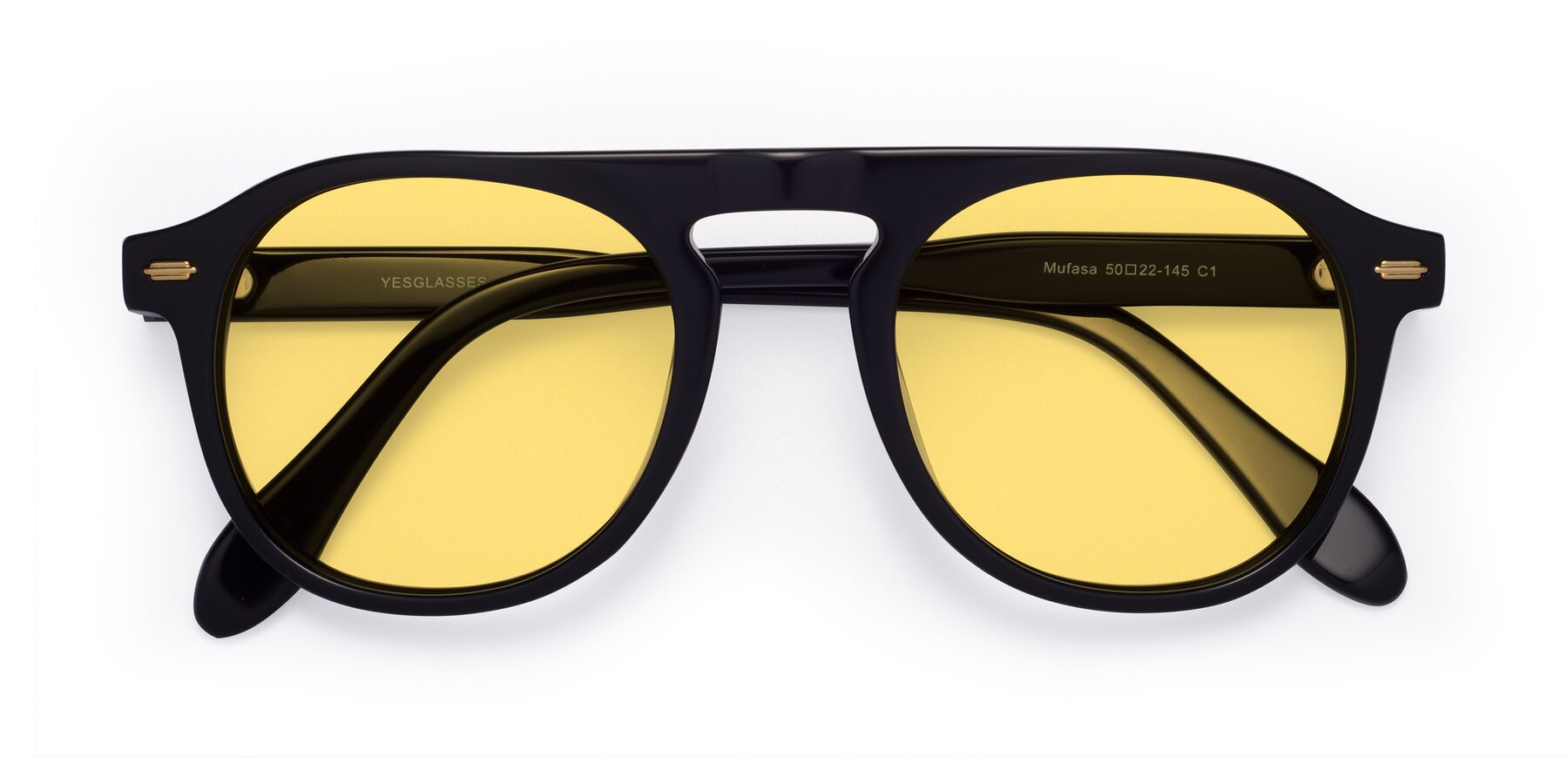 Folded Front of Mufasa in Black with Medium Yellow Tinted Lenses