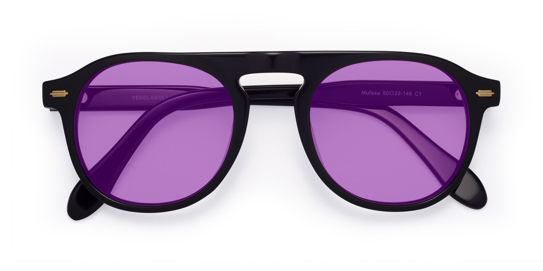 Folded Front of Mufasa in Black with Medium Purple Tinted Lenses
