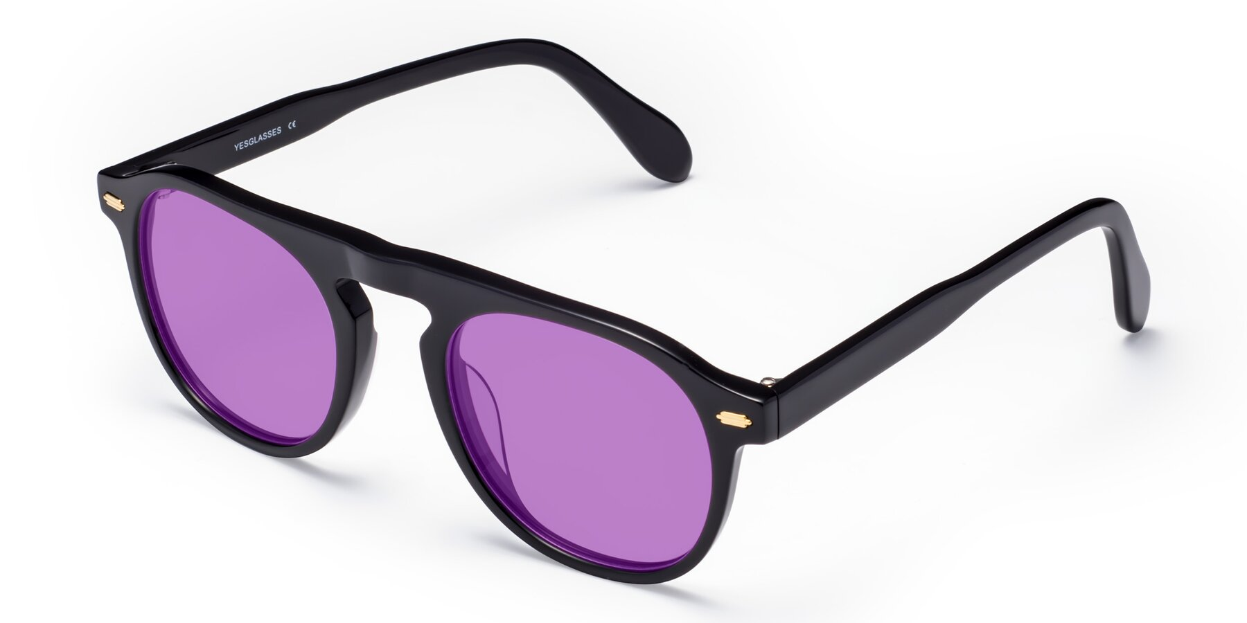 Angle of Mufasa in Black with Medium Purple Tinted Lenses