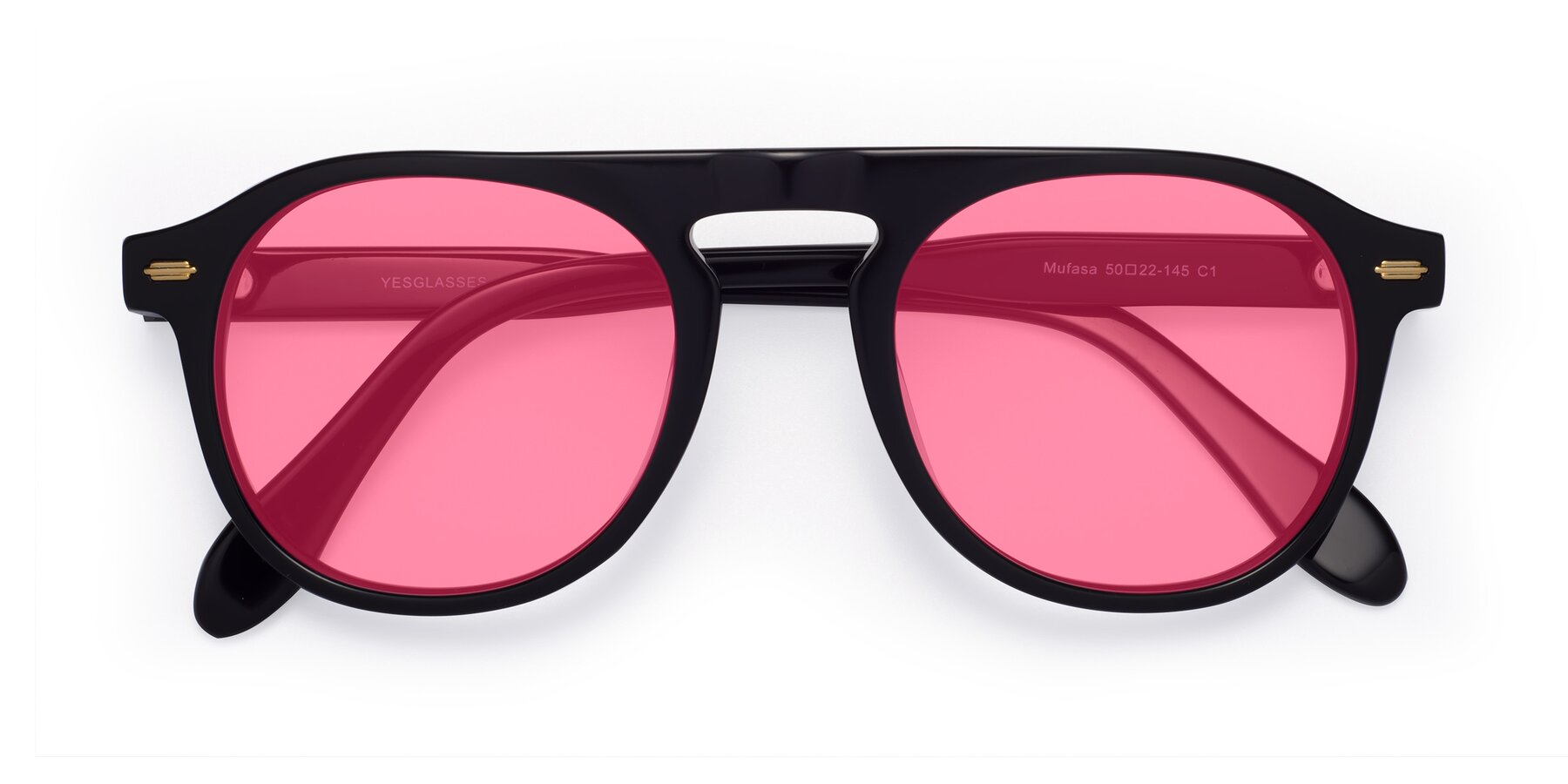 Folded Front of Mufasa in Black with Pink Tinted Lenses