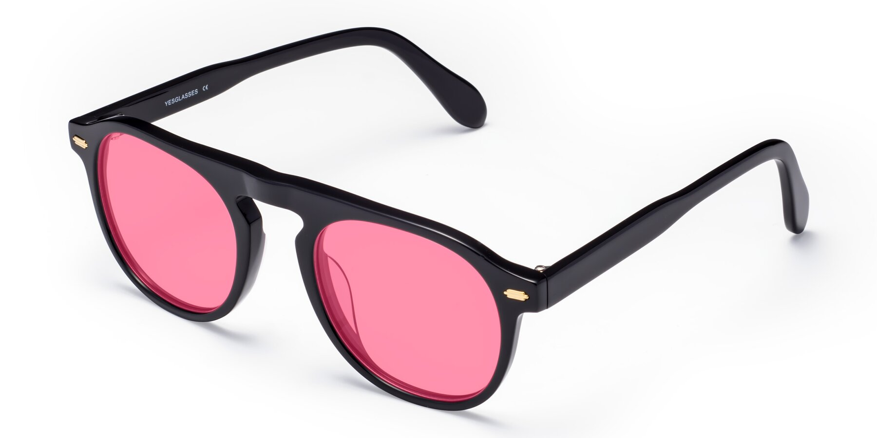 Angle of Mufasa in Black with Pink Tinted Lenses