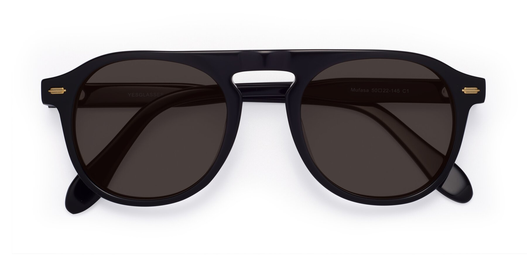 Folded Front of Mufasa in Black with Gray Tinted Lenses