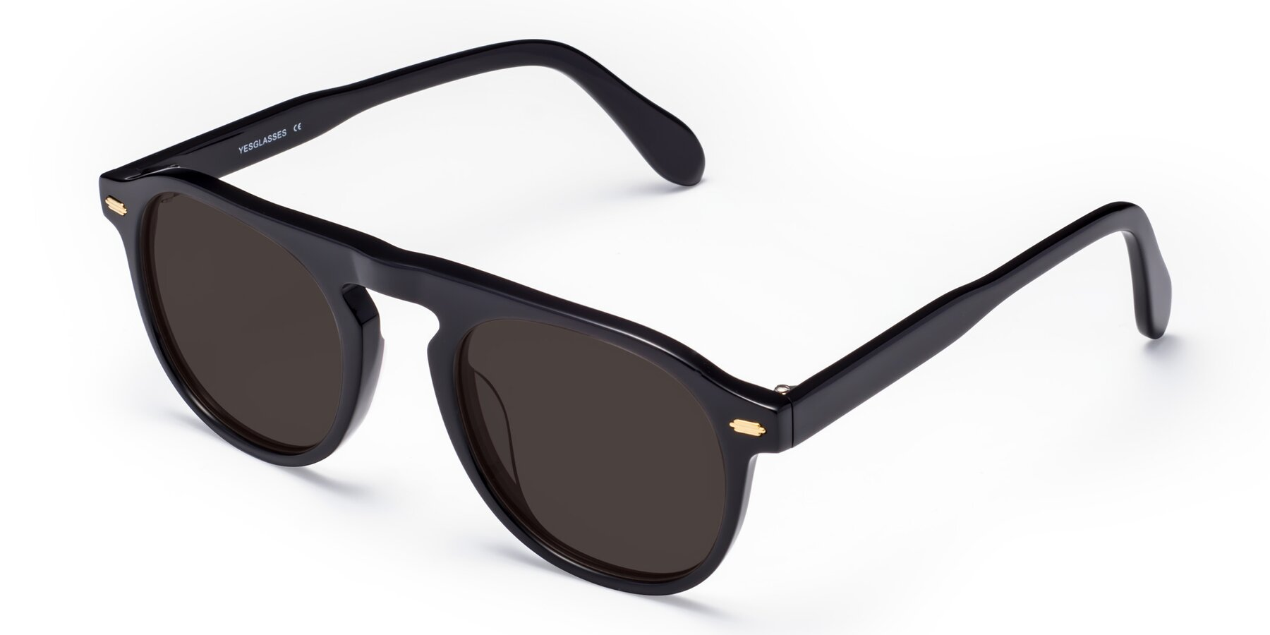 Angle of Mufasa in Black with Gray Tinted Lenses