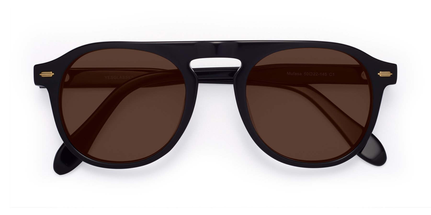 Folded Front of Mufasa in Black with Brown Tinted Lenses