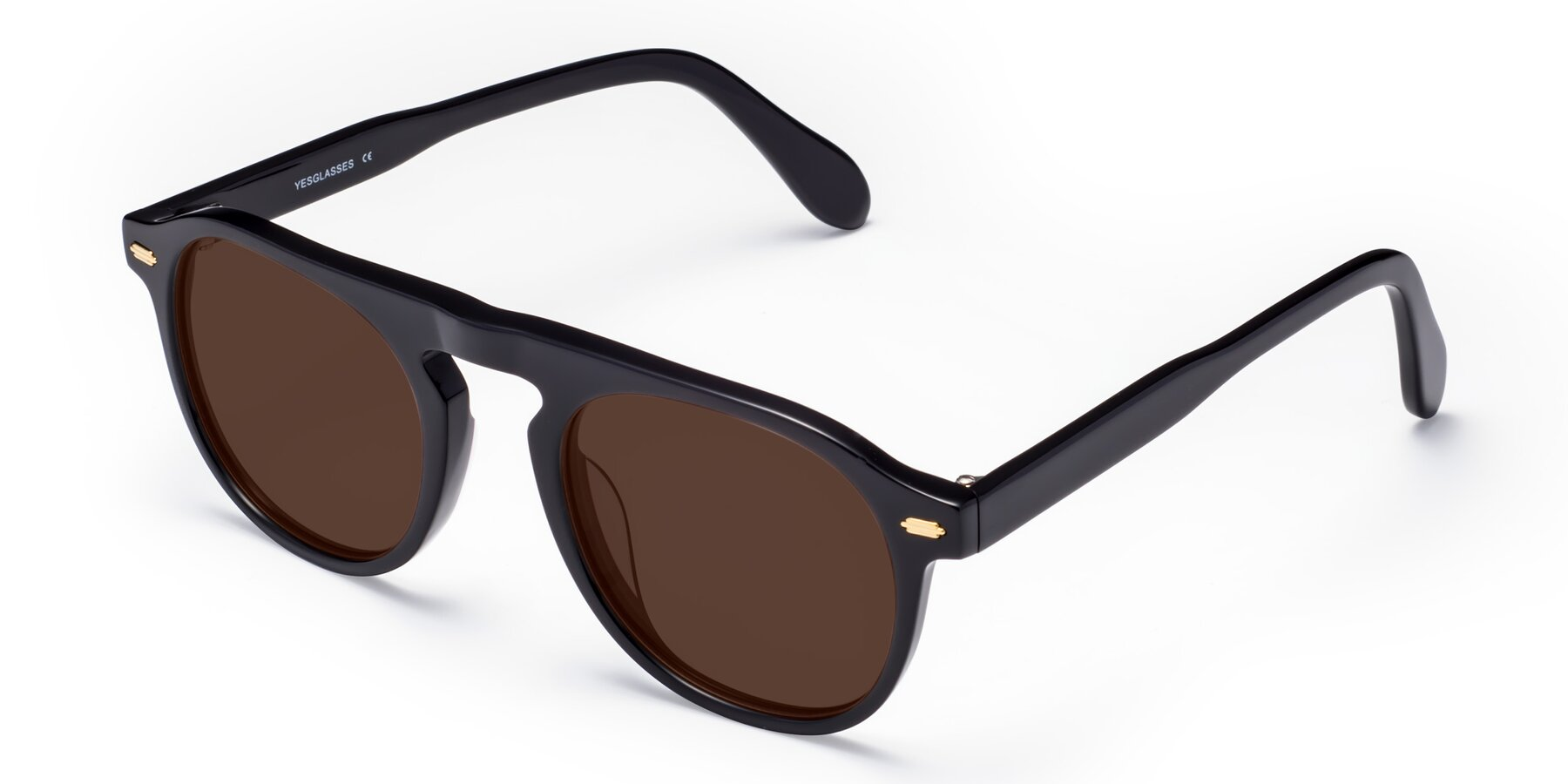 Angle of Mufasa in Black with Brown Tinted Lenses