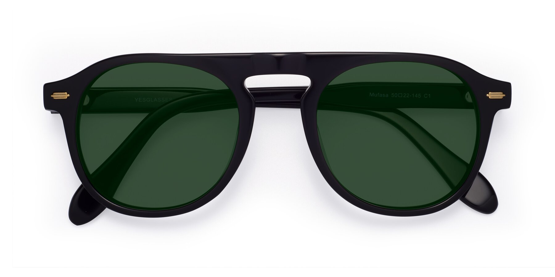 Folded Front of Mufasa in Black with Green Tinted Lenses
