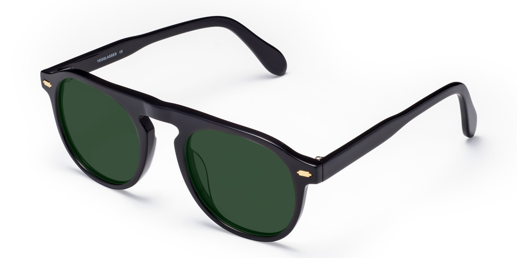 Angle of Mufasa in Black with Green Tinted Lenses