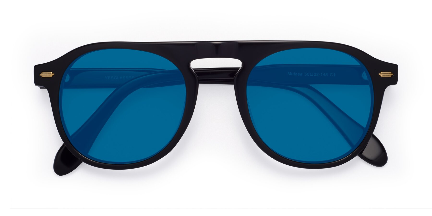 Folded Front of Mufasa in Black with Blue Tinted Lenses