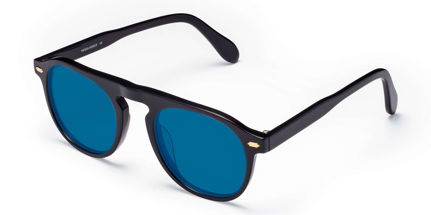 Angle of Mufasa in Black with Blue Tinted Lenses