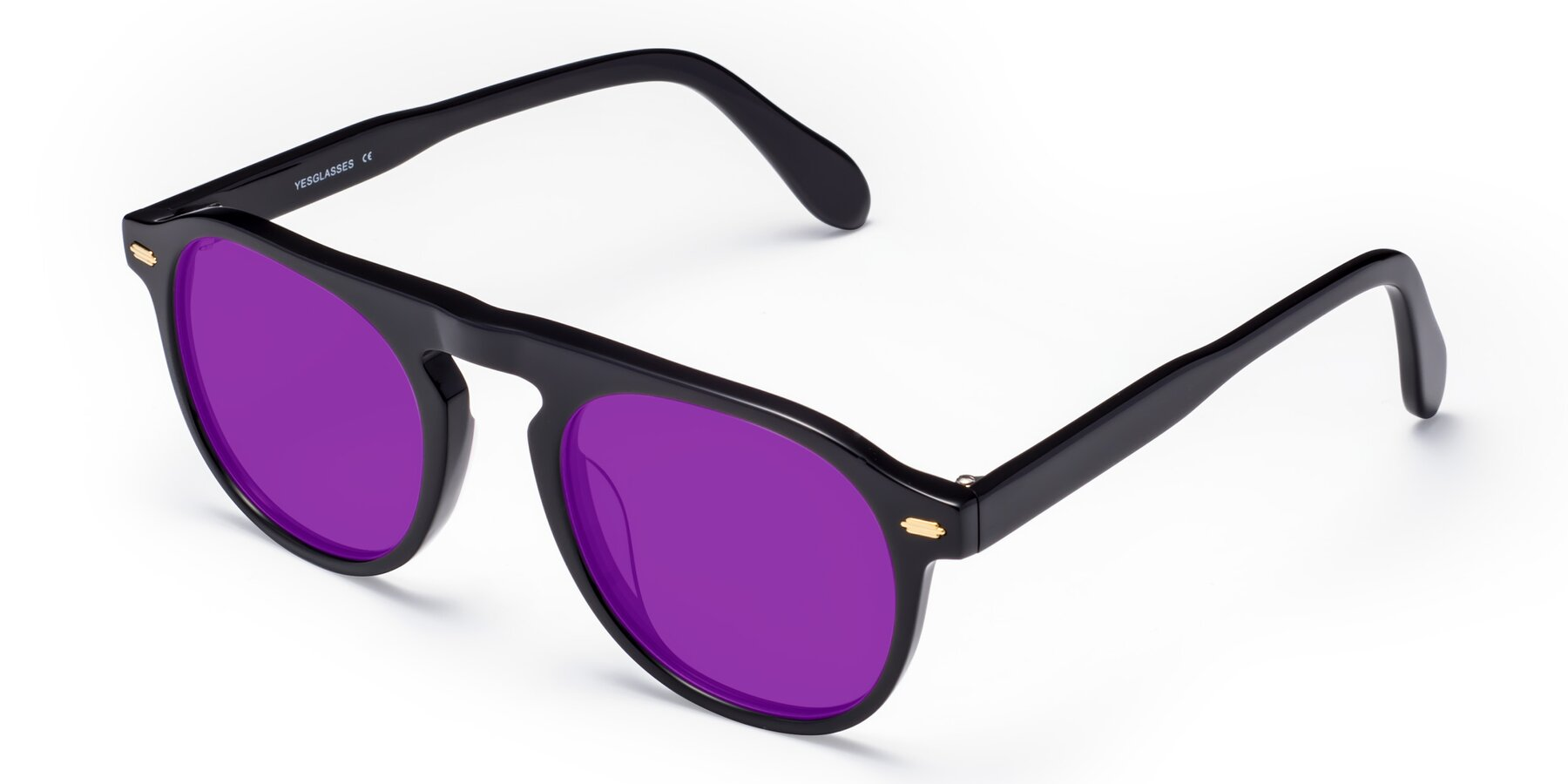 Angle of Mufasa in Black with Purple Tinted Lenses