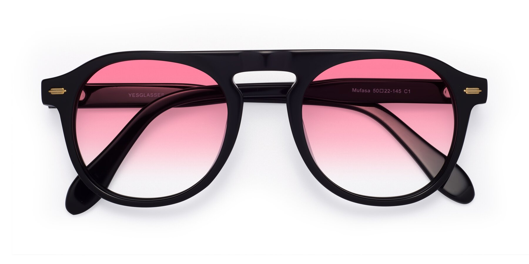 Folded Front of Mufasa in Black with Pink Gradient Lenses