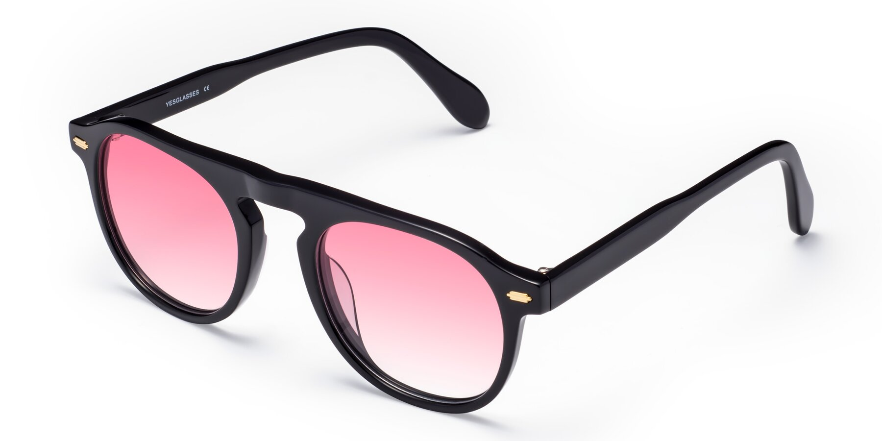 Angle of Mufasa in Black with Pink Gradient Lenses