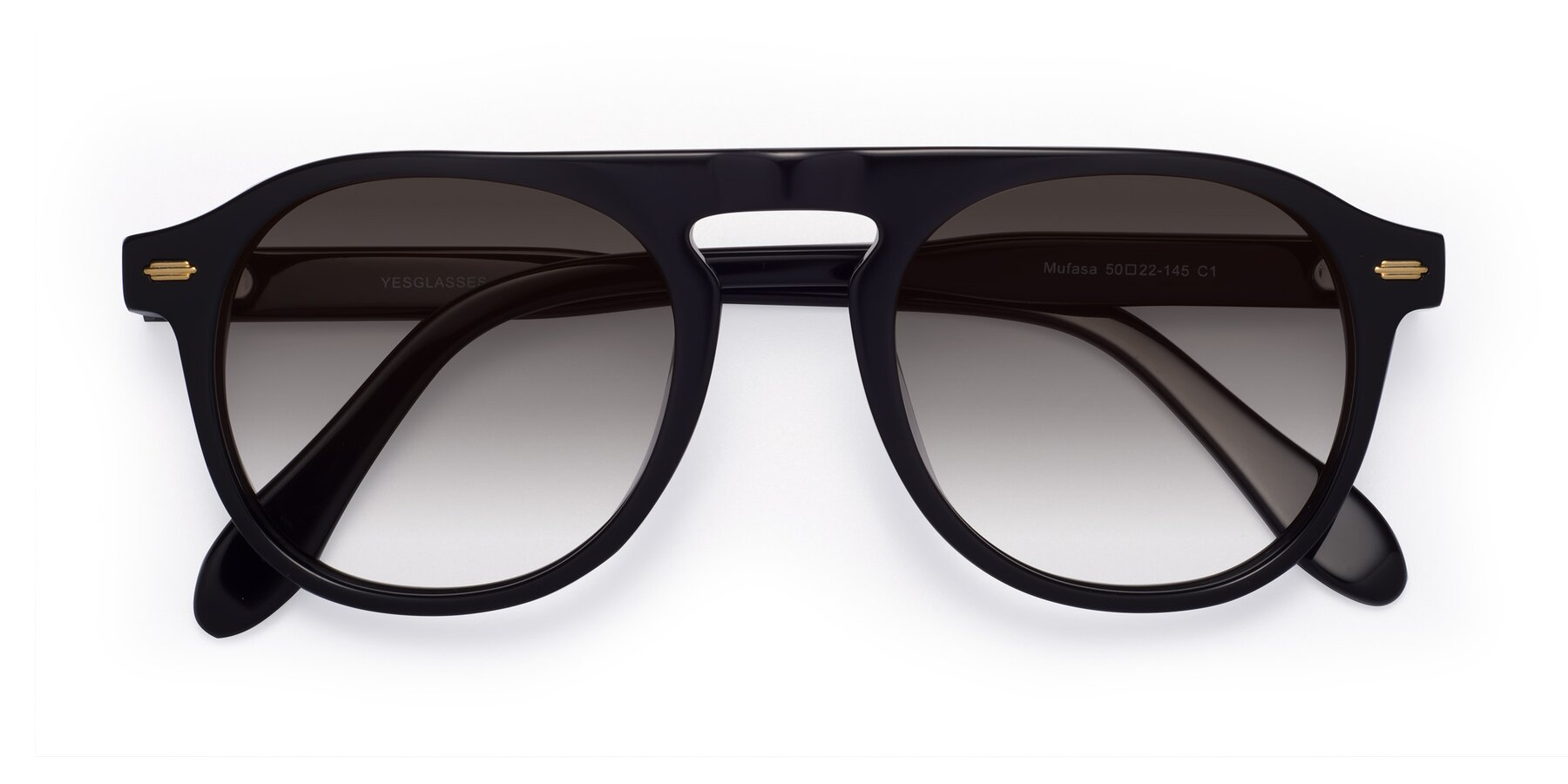 Folded Front of Mufasa in Black with Gray Gradient Lenses
