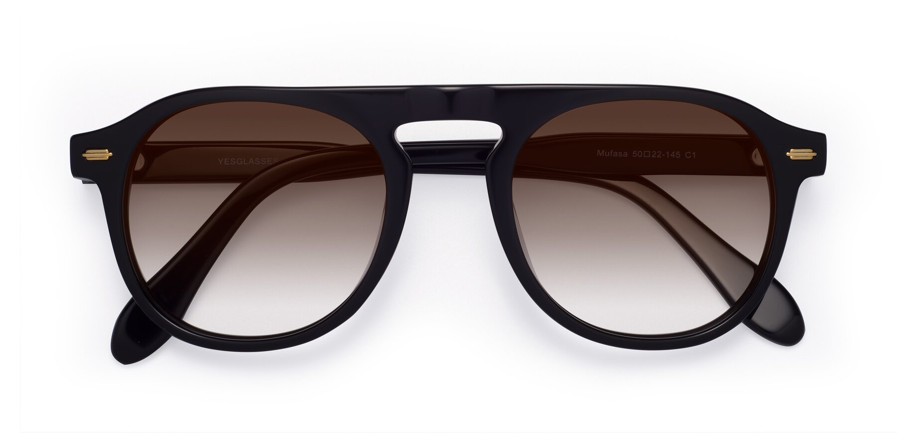 Folded Front of Mufasa in Black with Brown Gradient Lenses