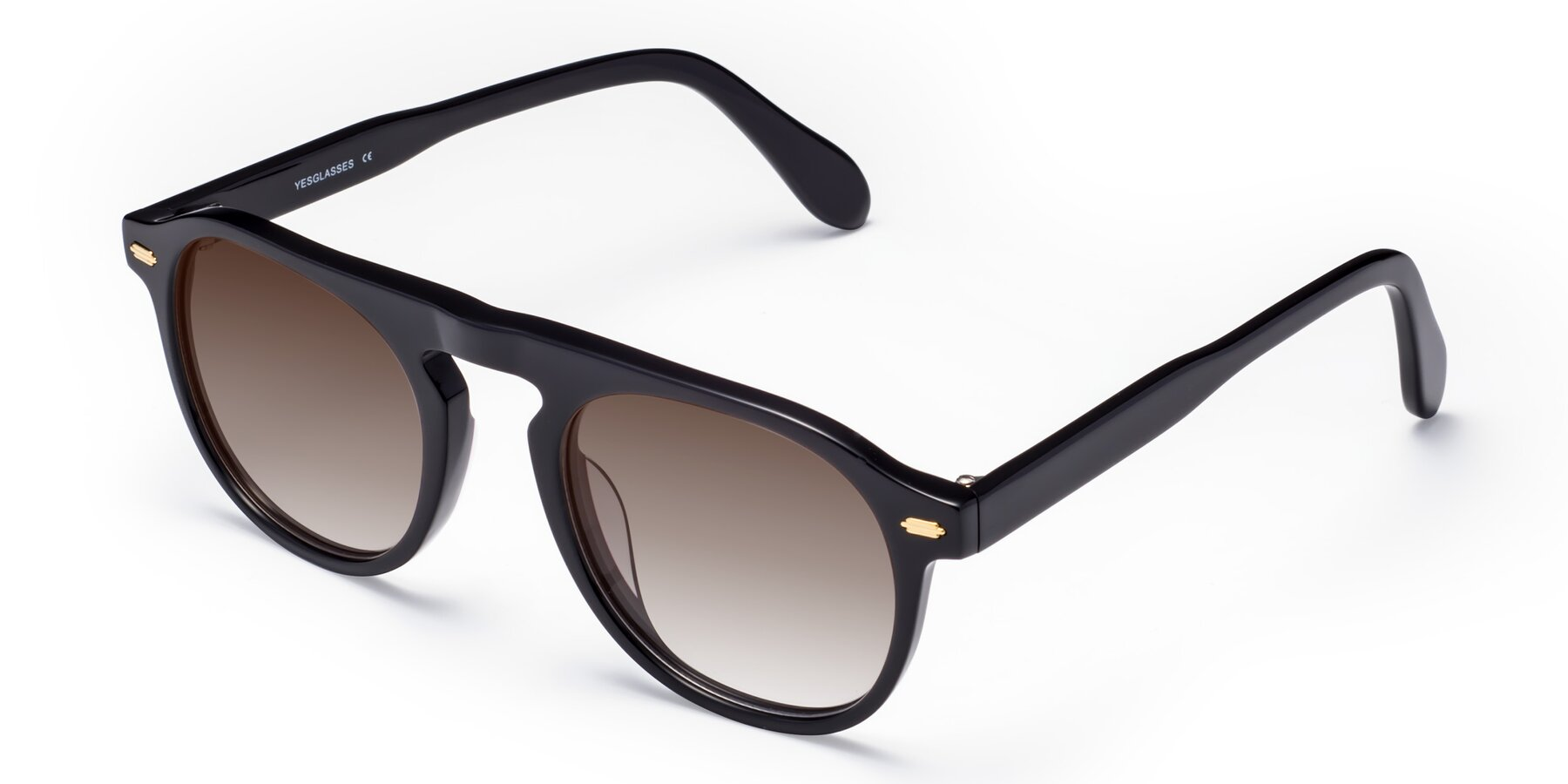 Angle of Mufasa in Black with Brown Gradient Lenses