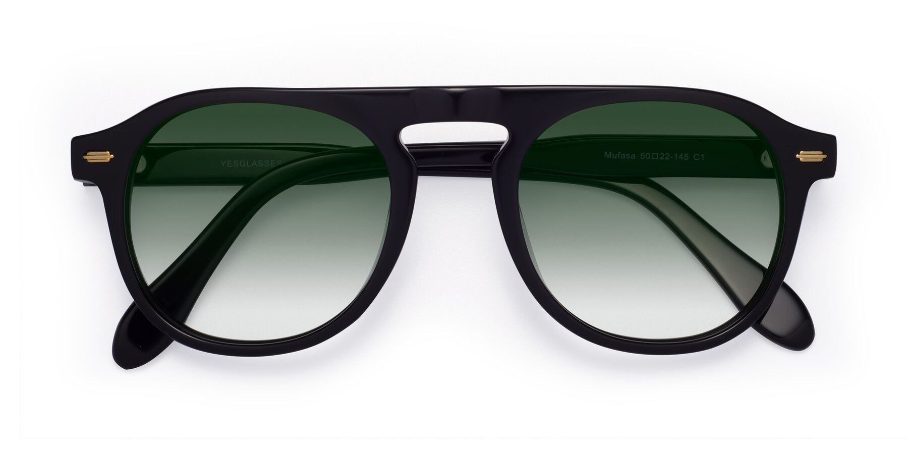 Folded Front of Mufasa in Black with Green Gradient Lenses