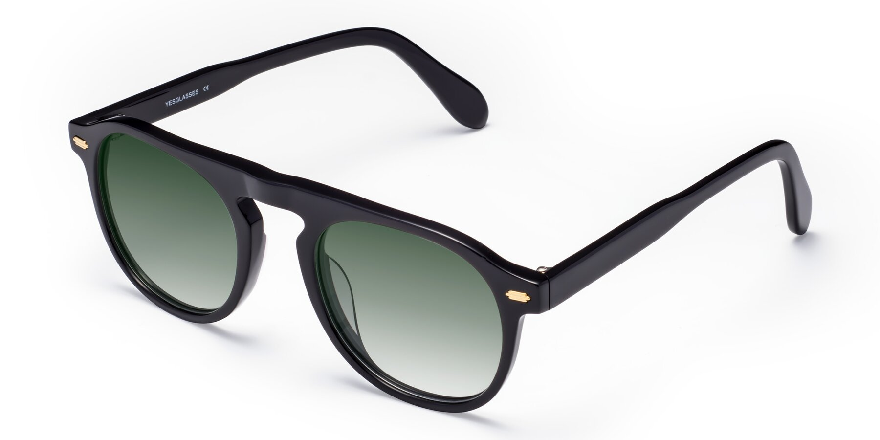 Angle of Mufasa in Black with Green Gradient Lenses